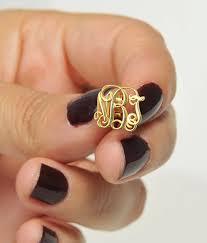 Gold Monogram Earrings Gold Monogram Earring Tiny Earring Custom Jewelry Initial