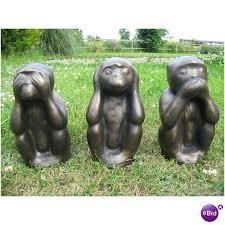 three wise monkeys garden ornaments heavy on ebid