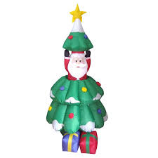 three posts inflatables animated santa and tree