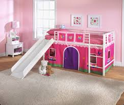 twin loft beds for girls pink and white loft bed for toddler girls with slide tent