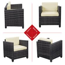 gray 4pcs wicker cushioned outdoor patio furniture set lovdock com