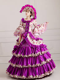 colonial halloween costume luxury purple ruffled flower ball gown with hat medieval dress