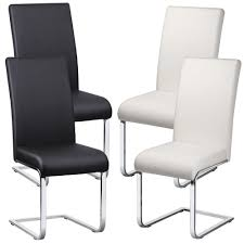 Faux Leather Dining Room Chairs 2 X Faux Leather Dining Room Chair Modern High Back U0026chrome Legs
