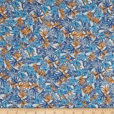 french designer rayon challis tropical floral leaves blue orange