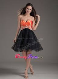orange red and black puffy appliqued short prom dress