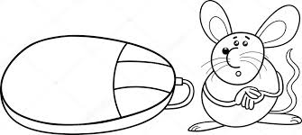 computer mouse coloring u2014 stock vector izakowski