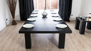 black and wood dining table modern large extending black ash dining table chunky legs seats 14