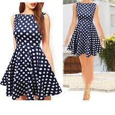 skater dress polka dots navy white sleeveless
