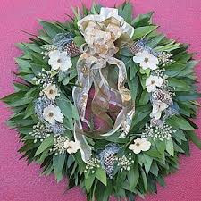 bay leaf wreath leaf white flowers any religion wreath