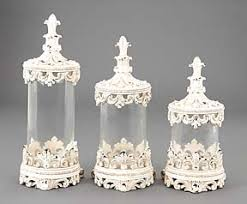 clear glass kitchen canister sets clear glass canisters set 3 ornate antique white lids shabby