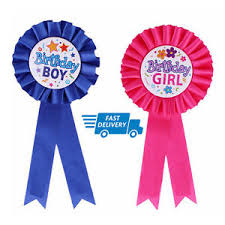 birthday girl pin happy birthday boys badge badge rosette blue pink deluxe