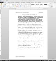 workplace safety rules guide template