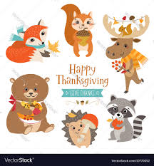 thanksgiving vector art thanksgiving cute forest animals royalty free vector image