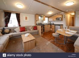 Living Room Kitchen Images Interior Of A Static Caravan Showing Living Room Kitchen And