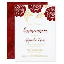 quinceanera invitations modern burgundy gold roses quinceanera invitations zazzle