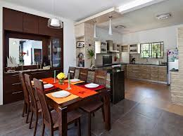 dining area open kitchen with wooden furniture design by