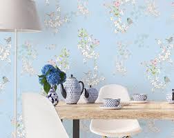 blue wallpaper etsy