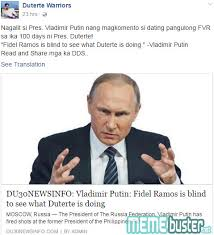 What Is Blind Busted Putin Called Fvr U0027blind U0027 To See What Duterte Is Doing