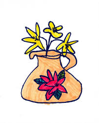 art for small hands drawing small pots with flowers