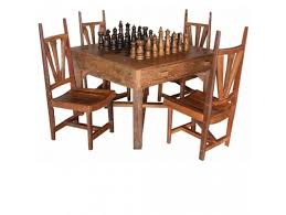 hill country rustic teak chess table set tf 538 m tf 266 w 871m