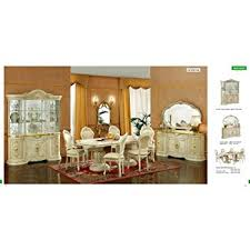 Italian Dining Room Furniture Esf Leonardo 7 Pieces Traditional Ivory Finish