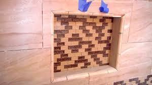 Tile Borders And Trim How To Install Quarter Round Pencil Trim For A Shower Niche Diy