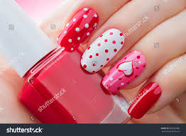 valentine nail art manicure valentines day stock photo 360525686