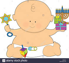 hanukkah baby a baby dressed in a and holding presents for hanukkah stock