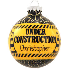 personalized construction glass ornament occupations