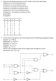 What Is A Truth Table 1 8 Pts For The Boolean Functions E And F Shown Chegg Com