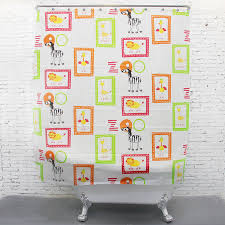 Kids Bathroom Shower Curtain Thick Peva Cartoon Zebra Zoo Kids Shower Curtains