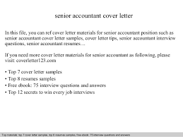 senior accountant cover letter accountant cover letter sample