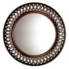 shop style selections oil rubbed bronze polished round wall mirror