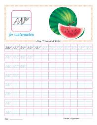 cursive small letter w practice worksheet download free cursive