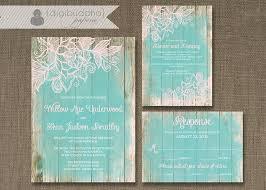 Beach Wedding Invitation Cards Lace Wood Wedding Invitation 3 Piece Suite Reception Response