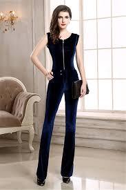 blue velvet jumpsuit modest scoop neck navy blue velvet winter formal occasion evening