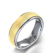 Best Metal For Mens Wedding Ring by Round Link Design Carved Men U0027s Wedding Ring In 14k Two Tone Yellow