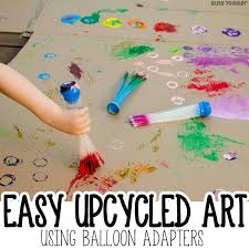 Upcycled Art - upcycled process art with balloon adapters busy toddler