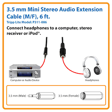 3 5 M To Feet Amazon Com Tripp Lite 3 5mm Mini Stereo Audio Extension Cable For
