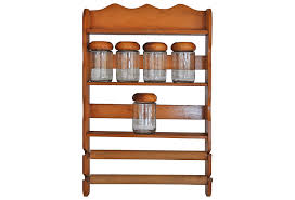 Spice Rack Wall Mount Wood Furniture Large Wooden Spice Rack With 30 Jars For Kitchen