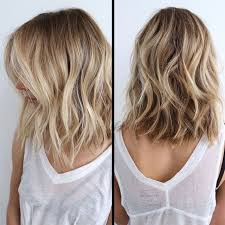 long bob hairstyles with low lights warm blonde with creamy bananna highlights in front and coppery
