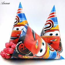 in party supplies 6pcs bag lightning mcqueen 95car theme caps birthday party supplies