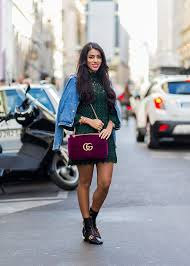 spring trend how to wear a denim jacket and skirt