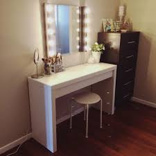 vanity dresser with lighted mirror furniture diy wooden makeup vanity table painted with white color