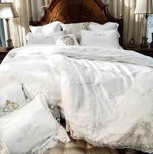 Linen Bedding Sets Cotton 800tc Satin Embroidery Lace Wedding Bedding