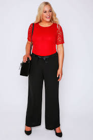 wide leg trousers with ribbon waist plus size 16 32
