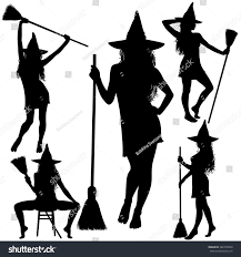 collection halloween witches silhouettes standing broomstick stock