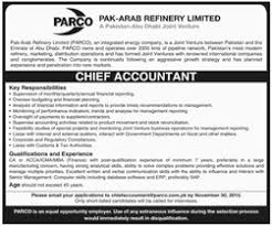 chief accountant jobs opportunities in pak arab refinery limited for chief accountant