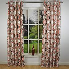 interior design retro modern geometric print curtains with grommet