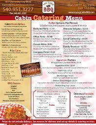 log cabin bbq catering menu food mmmm pinterest bbq